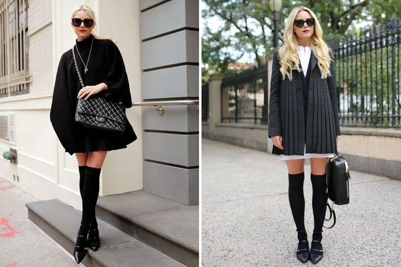 Due outfit eleganti con calze parigine nere